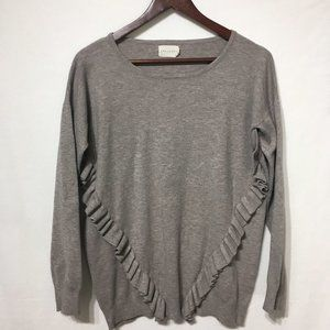 Dreamers Light Brown Front Ruffle Sweater
